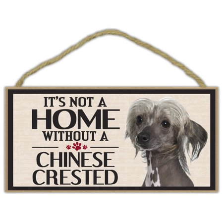 Wood Sign: It's Not A Home Without A CHINESE CRESTED | Dogs, Gifts, Decorations - It's Halloween Sign