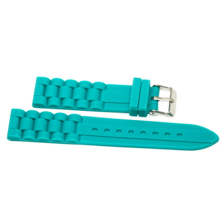 22MM TEAL SILICONE RUBBER LINK WATCH BAND STRAP FITS FOSSIL ()