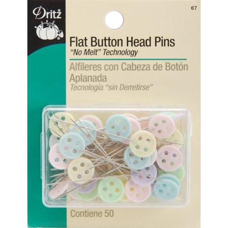50/Pkg - Flat Button Head - Flat Flower Pins