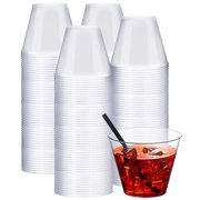 NYHI Clear Plastic Cups (9-Ounces, 200 Pack) | Premium Heavy Duty Disposable Cups That Won't Crack, Break or Leak | Plastic Party Cup Tumblers for Birthdays, Weddings, Halloween, Wine, Cocktails