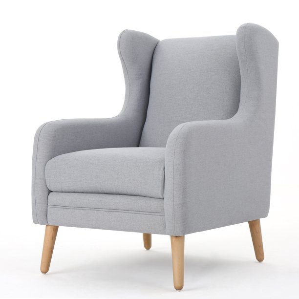 Noble House Roseannw Fabric Club Chair,Light Grey