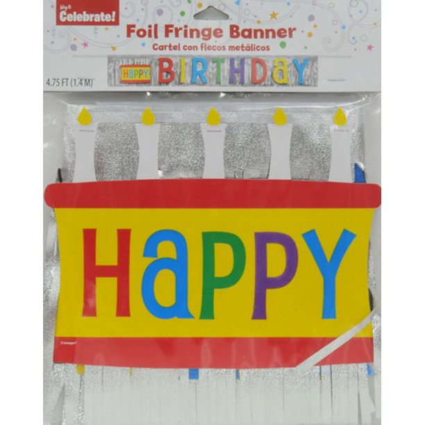 Way To Celebrate Birthday Foil Fringe Banner Multi Color Walmart Com Walmart Com