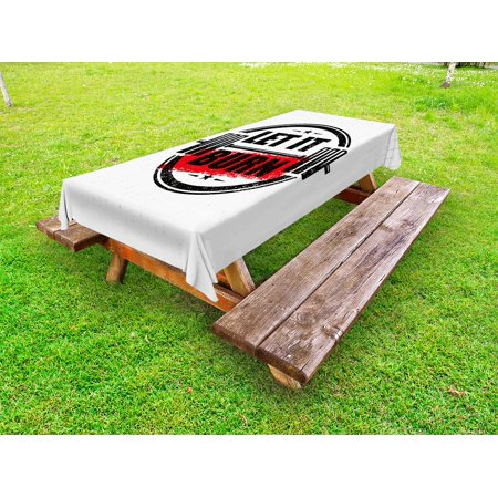 Fitness Outdoor Tablecloth, Let It Burn Gym Workout Strong Training Motivation Active Healthy Life Grunge, Decorative Washable Fabric Picnic Tablecloth, 58 X 104 Inches, Red Black White, by Ambesonne