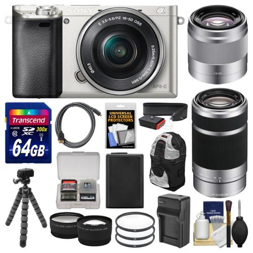 Sony Alpha A6000 Wi-Fi Digital Camera & 16-50mm (Silver) with 55-210mm & 50