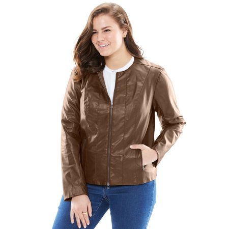 3f8ae4fe2f2 Woman Within - Plus Size Faux Leather Jacket - Walmart.com