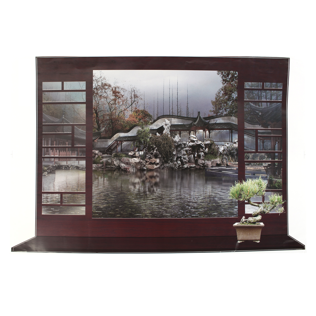 Unique Bargains Home Wall Decor 3D Effect Fake Window Chinese Landscape Pattern Wall Sticker Decal