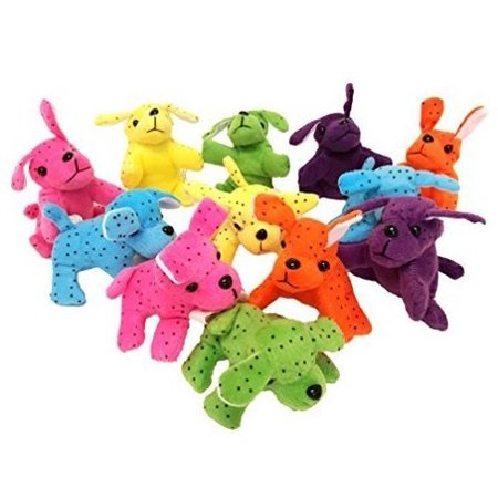 Plush Dogs Neon 4 Inches 12 Pieces –Assorted Colors Stuffed Dogs – For Kids Great Party Favors, Fun, Toy, Gift, Prize - By Kidsco