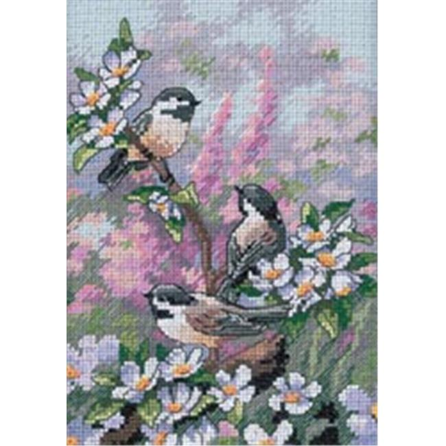 242790 Gold Collection Petite Chickadees In Spring Counted Cross St-5 in. x 7 in.