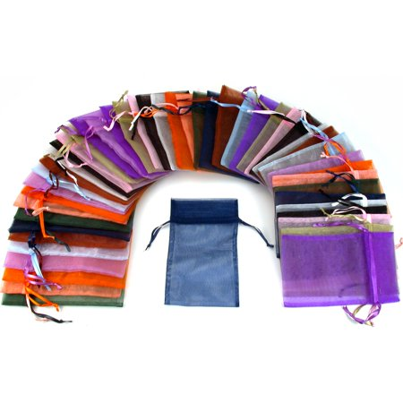 Assorted Gift Bags - 48 Organza Drawstring Pouches Gift Bags Assorted Colors 4x5