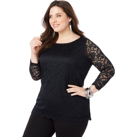 Boatneck Lace Top (Plus Size All-over Lace Boatneck Tee With Illusion)