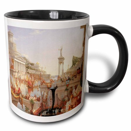 Empire Mug - 3dRose The Course of Empire, The Consummation of Empire by Thomas Cole American Artist - Two Tone Black Mug, 11-ounce