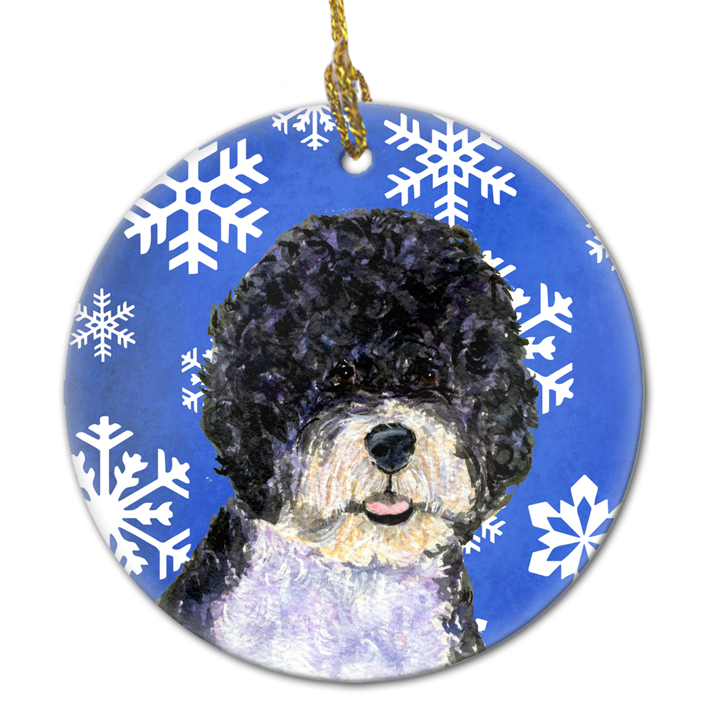 Portuguese Water Dog Winter Snowflakes Holiday Christmas Ceramic Ornament