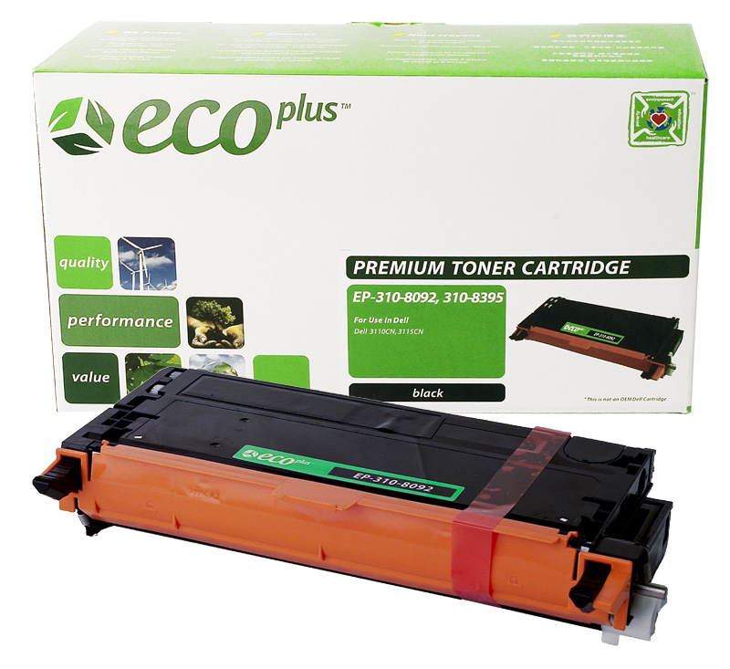 ECOPlus ™ Remanufactured Toner Cartridge for Dell 3108092, 3108395, 59310170, 59310218, CT350452, PF030, XG721 (Premium Quality TONER CTG, BLACK, 8K YIELD)