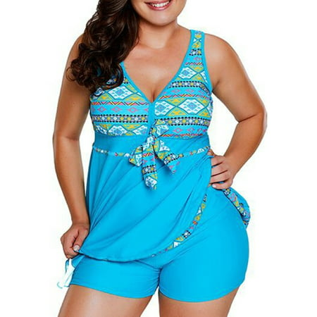 Plus Size Women Summer 2 Pieces Swimsuit Set