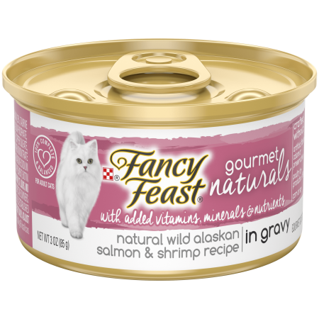 Gravy Recipe - (12 Pack) Fancy Feast Gourmet Naturals Grain Free Wild Alaskan Salmon & Shrimp Recipe in Gravy Adult Wet Cat Food, 3 oz. Cans