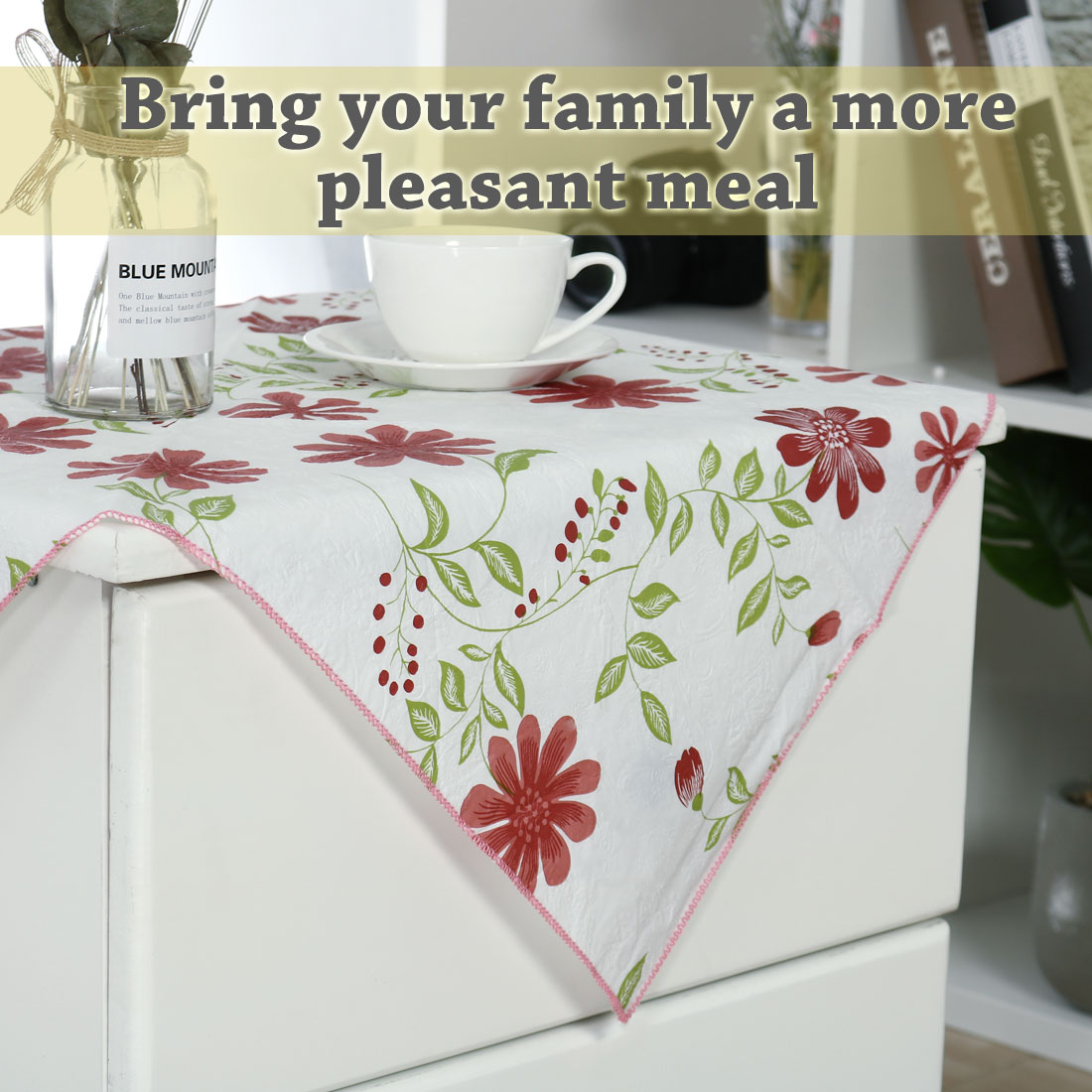 """Seamless Stain Water Resistant PVC Rectangular Tablecloth 24"""" x 24"""" Red Flower - image 1 of 8"""