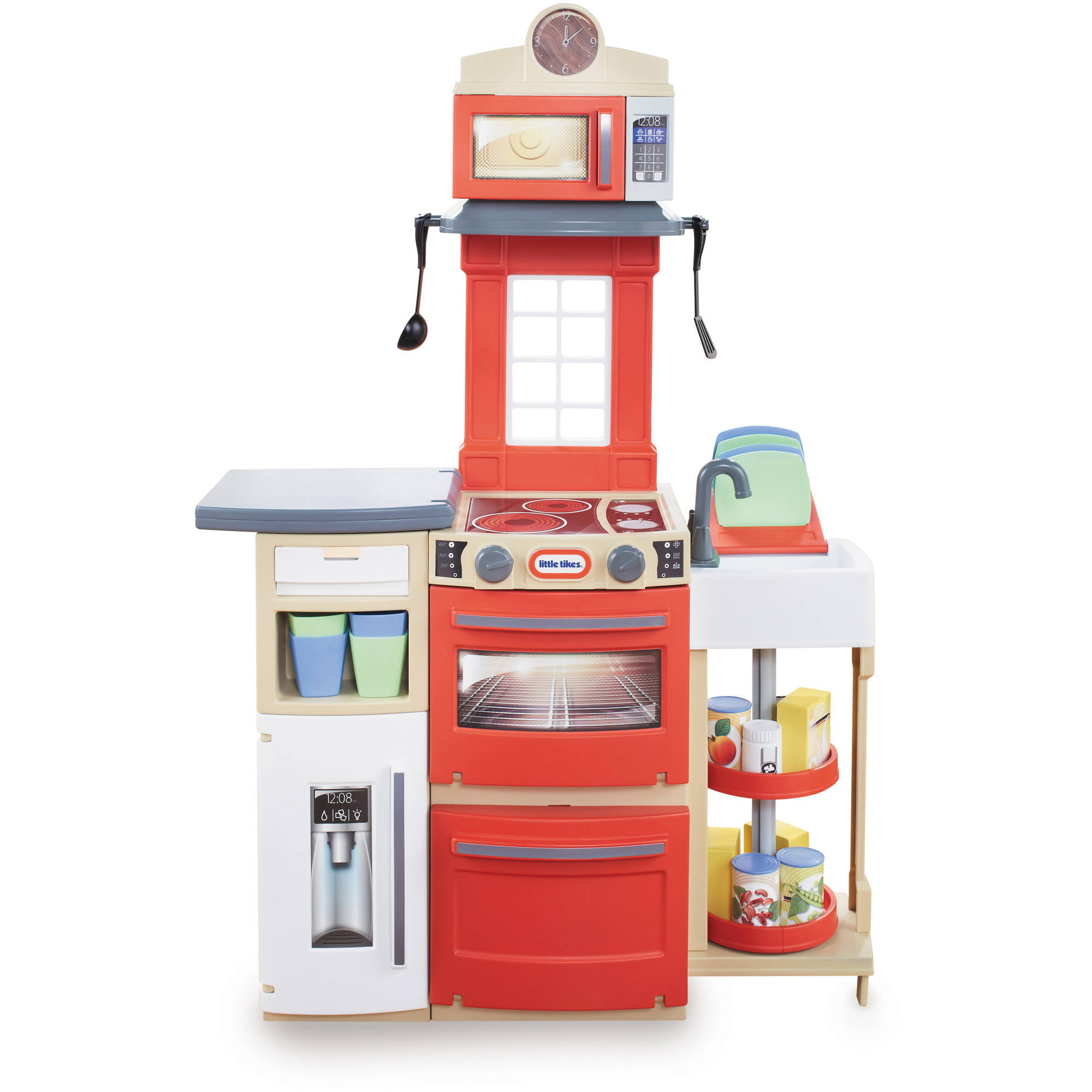 Little Tikes Cook \'n Store Kitchen, Red, with 32-piece Accessory Set ...