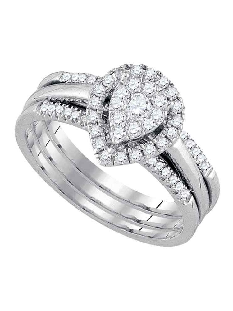 14k White Gold Round Diamond Teardrop Cluster 3-Piece Bridal Wedding Engagement Ring Set 1 2 Cttw by GND