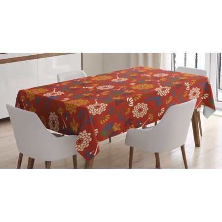Vintage Tablecloth, Asian Flower Silhouettes on a Half Circle Scale Background Spring Blossom Theme, Rectangular Table Cover for Dining Room Kitchen, 52 X 70 Inches, Multicolor, by