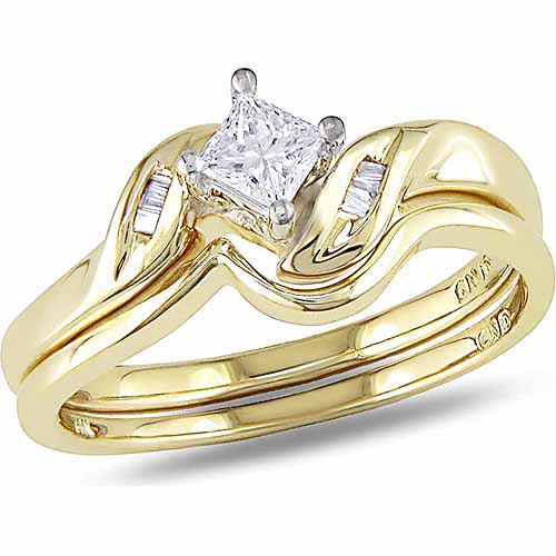 Miabella 1/4 Carat T.W. Princess and Baguette-Cut Diamond 14kt Yellow Gold Bypass Bridal Set
