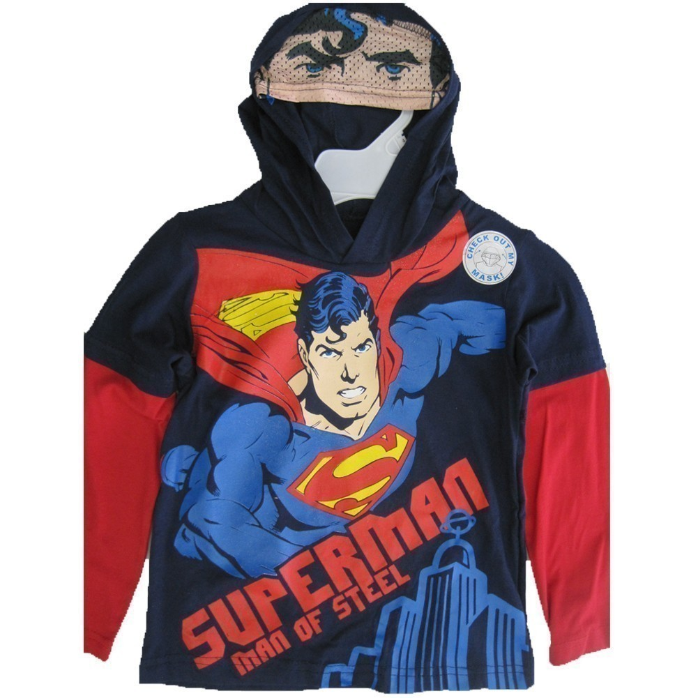 Little Boys Navy Blue Red Superhero Print Hooded Shirt 4-7