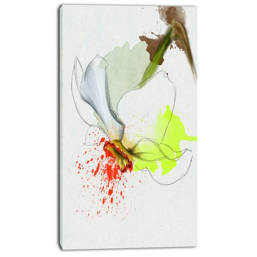 Design Art 'Narcissus Flower Sketch Watercolor' Painting Print on Wrapped Canvas
