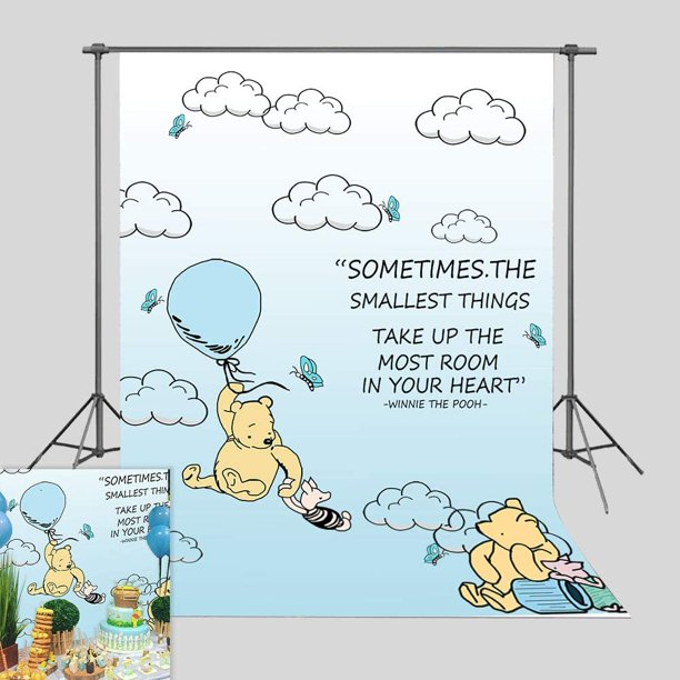 Cartoon Blue Sky Clouds Hot Air Photography Backdrop Wallpaper Bedroom Decorations Winnie The Pooh Photo Background Boys Girls Birthday Party Banner Baby Shower Supplies Photo Booths Vinyl 3x5ft Walmart Com Walmart Com
