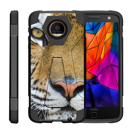 TurtleArmor ® | For Motorola Moto Z Droid Edition XT1650-01 [Dynamic Shell] Dual Layer Hybrid Silicone Hard Shell Kickstand Case - Tiger -