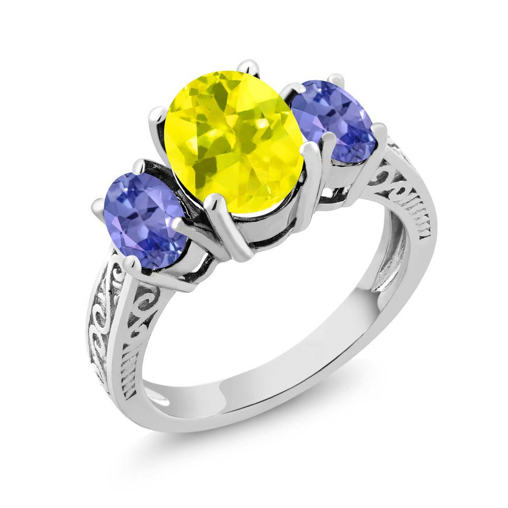 3.20 Ct Oval Canary Mystic Topaz Blue Tanzanite 925 Sterling Silver 3-Stone Ring