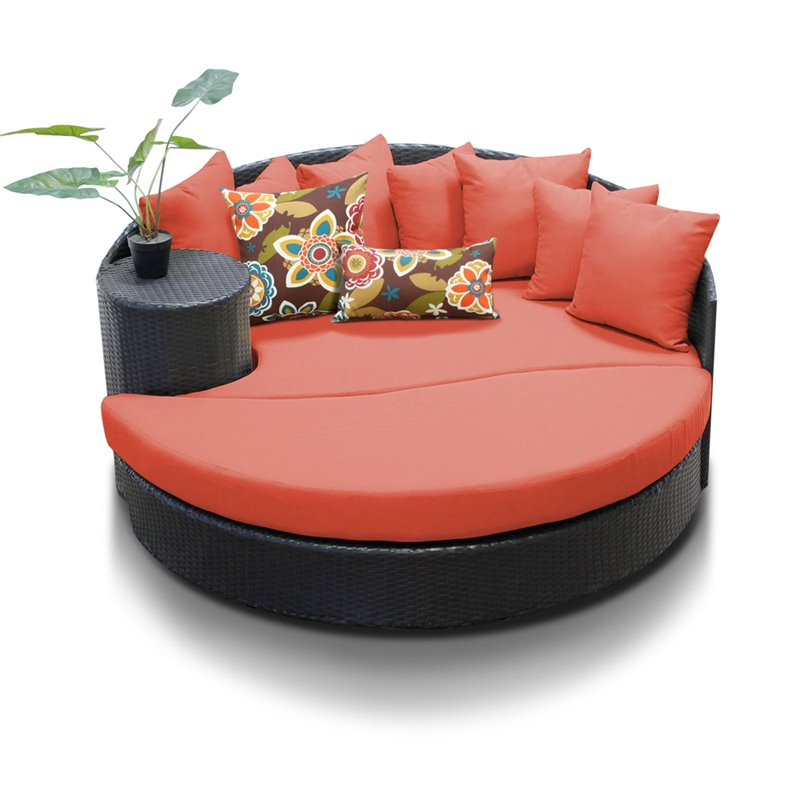 Bowery Hill Round Patio Wicker Daybed in Orange