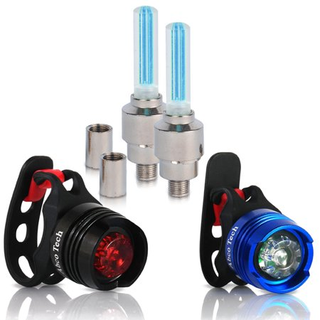 Bike Light Front and Rear Aluminum LED Bike Light Set 2 Valve Wheels Lights - 2 Waterproof High Intensity Multi-Purpose Rear Bike Light for Bicycle (Blue)