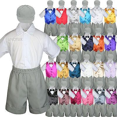 , Black 0-6 months 5pc Baby Toddler Little Boys White Bow Tie Shorts Suit Satin Vest S-4T S: