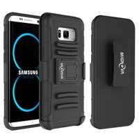 Galaxy S8 Plus Case, Mignova Rugged Plastic Heavy Duty Armor Holster Defender Full Body Protective Hybrid Case Cover with Kickstand and Belt Swivel Clip for Galaxy S8 Plus (Black)