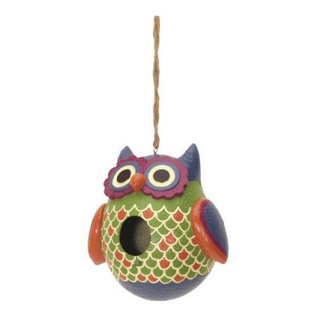 Whimsical Wise Owl Birdhouse 8 Inch Resin Shaped Backyard Bird Garden Decor