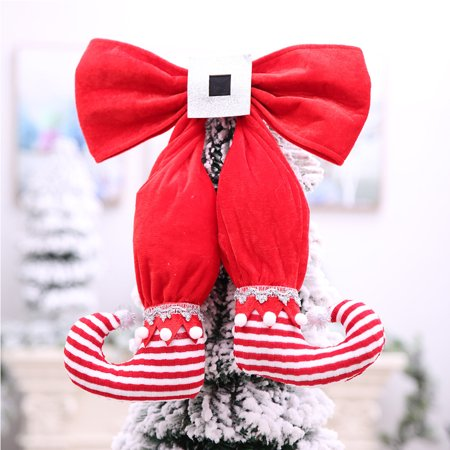 Christmas Elf Boot Shaped Bowknot Ornament Hanging Pendant for Xmas Tree Wall Door Window Decoration Random Colour ()