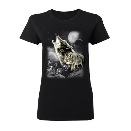 Wolves Wildness Howling Full Moon Women's T-shirt Wolf the Mountain Tee