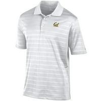 University Of California Berkeley Cal Embroidered Champion Textured Stripe Mens Polo Shirt- White