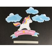Blue Handmade Unicorn Birthday Cake Toppers Decorations For Kids Party Supplies Image 3