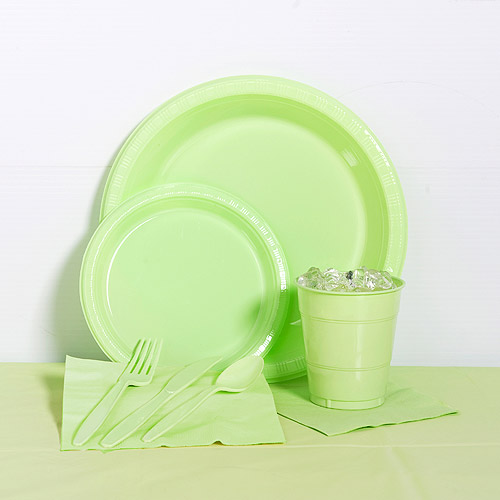Pistachio Plastic Tableware Party Pack for 20