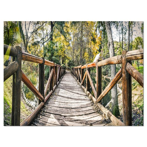 Design Art Wooden Bridge in Forest Photographic Print on Wrapped Canvas
