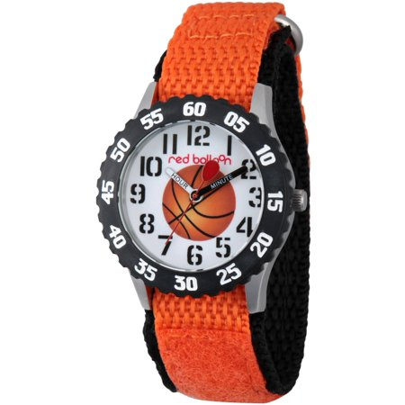 Basketball Boys' Stainless Steel Time Teacher Watch, Black Bezel, Orange Hook and Loop Nylon Strap with Black Backing