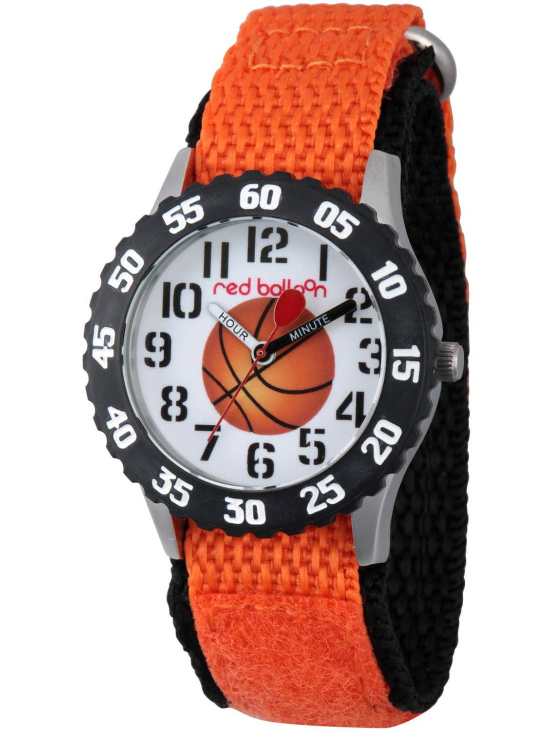 Basketball Boys' Stainless Steel Time Teacher Watch, Black Bezel, Orange Hook and Loop Nylon Strap with Black Backing