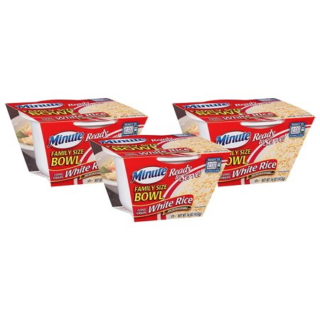 (3 Pack) Minute Long Grain White Rice Ready To Serve Family Size Bowl, 16 oz