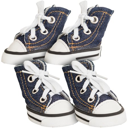 Dog Sneakers - Lookin' Good Sparkle Denim Canvas Dog Sneaker X-Small - 4 Shoes - (Paw 2\