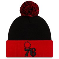 Philadelphia 76ers New Era Cuffed Knit Hat with Pom - Black/Red - OSFA