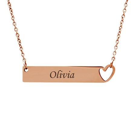 Personalized Rose Gold Women's Heart Cut Out Bar Stainless Steel Custom Made Engravable Couples Name Necklace Free Gift Box Ships Next Day Cut Out Rose Pendant