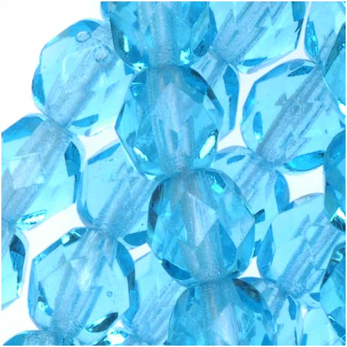 Czech Fire Polished Glass Beads 6mm Round Aqua (25)