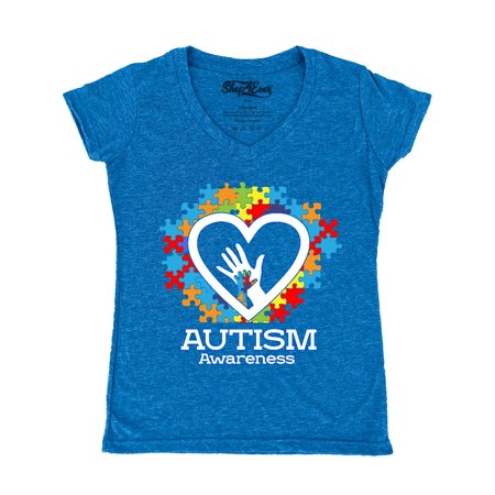 Shop4Ever Women's Autism Awareness Hands Puzzle Heart Slim Fit V-Neck T-Shirt