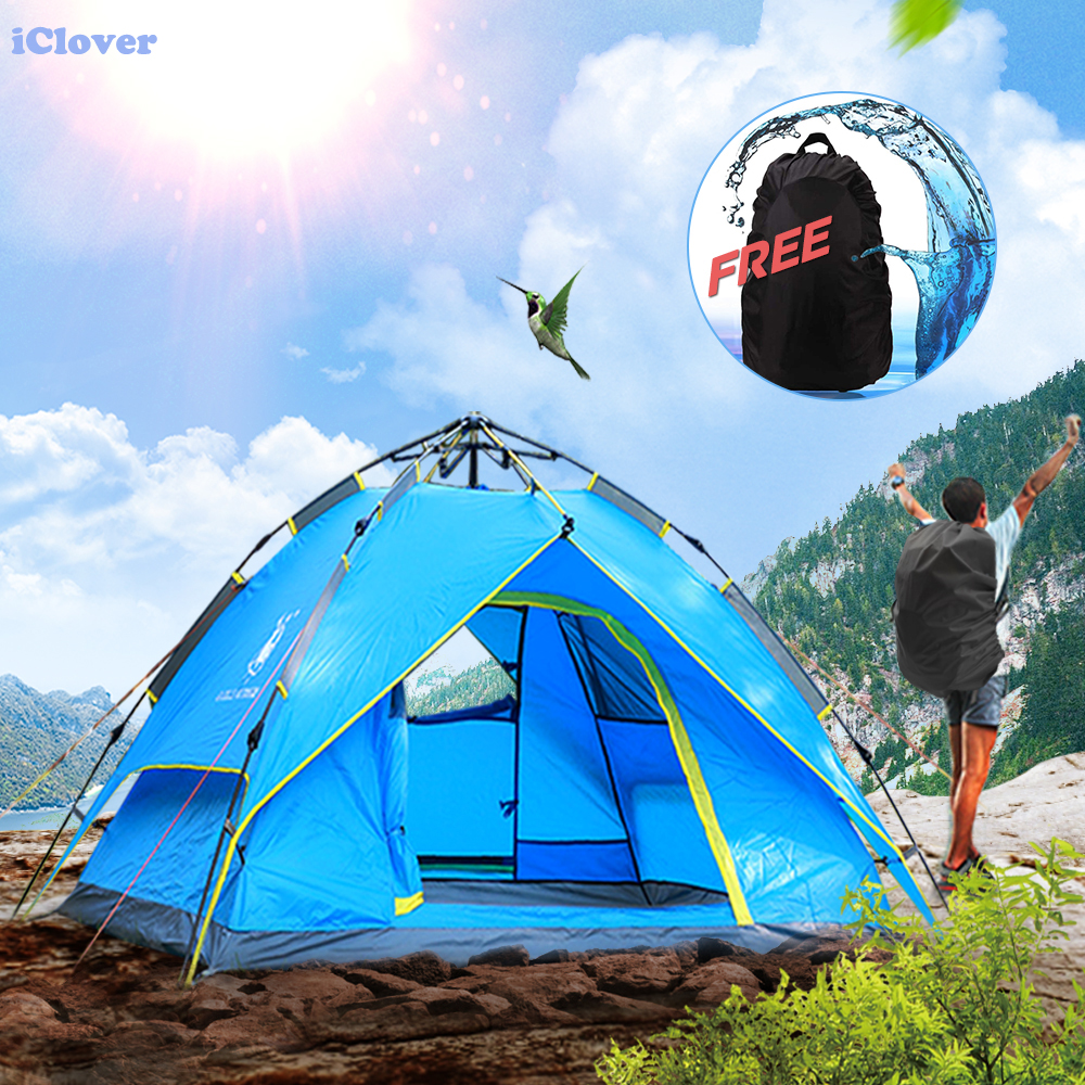 Waterproof Hydraulic Automatic Camping Tent + Free Backpack Rain Cover, IClover 2/3 People Portable Pop Up Camping Family Sun Shelter Tents Cabana Anti-mosquito for Outdoor Hiking Sleeping Napping