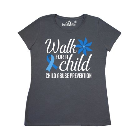 Walk For a Child Chile Abuse Prevention with Blue Ribbon and Pinwheel Women's T-Shirt Child Abuse Blue Ribbons